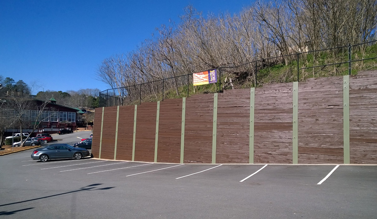 commercial timber retaining wall