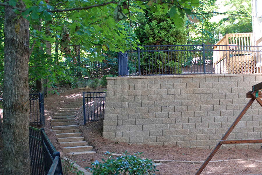 block retaining wall with steps