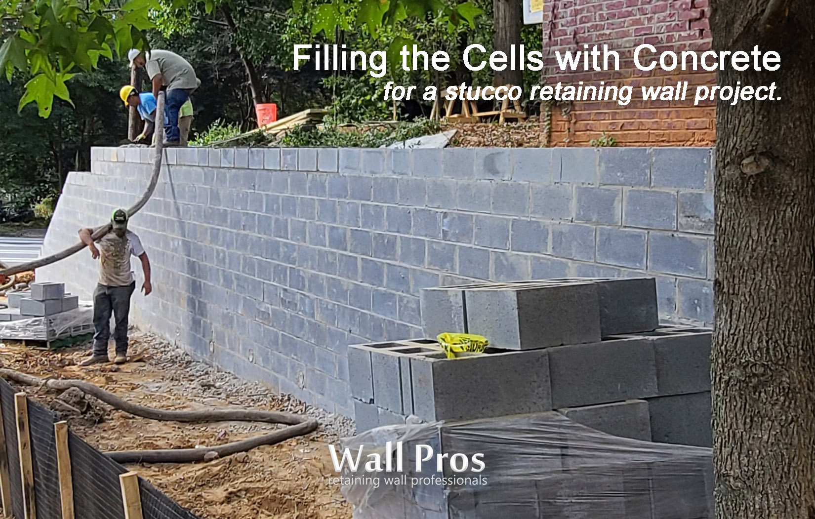 filling cinderblock cells with concrete