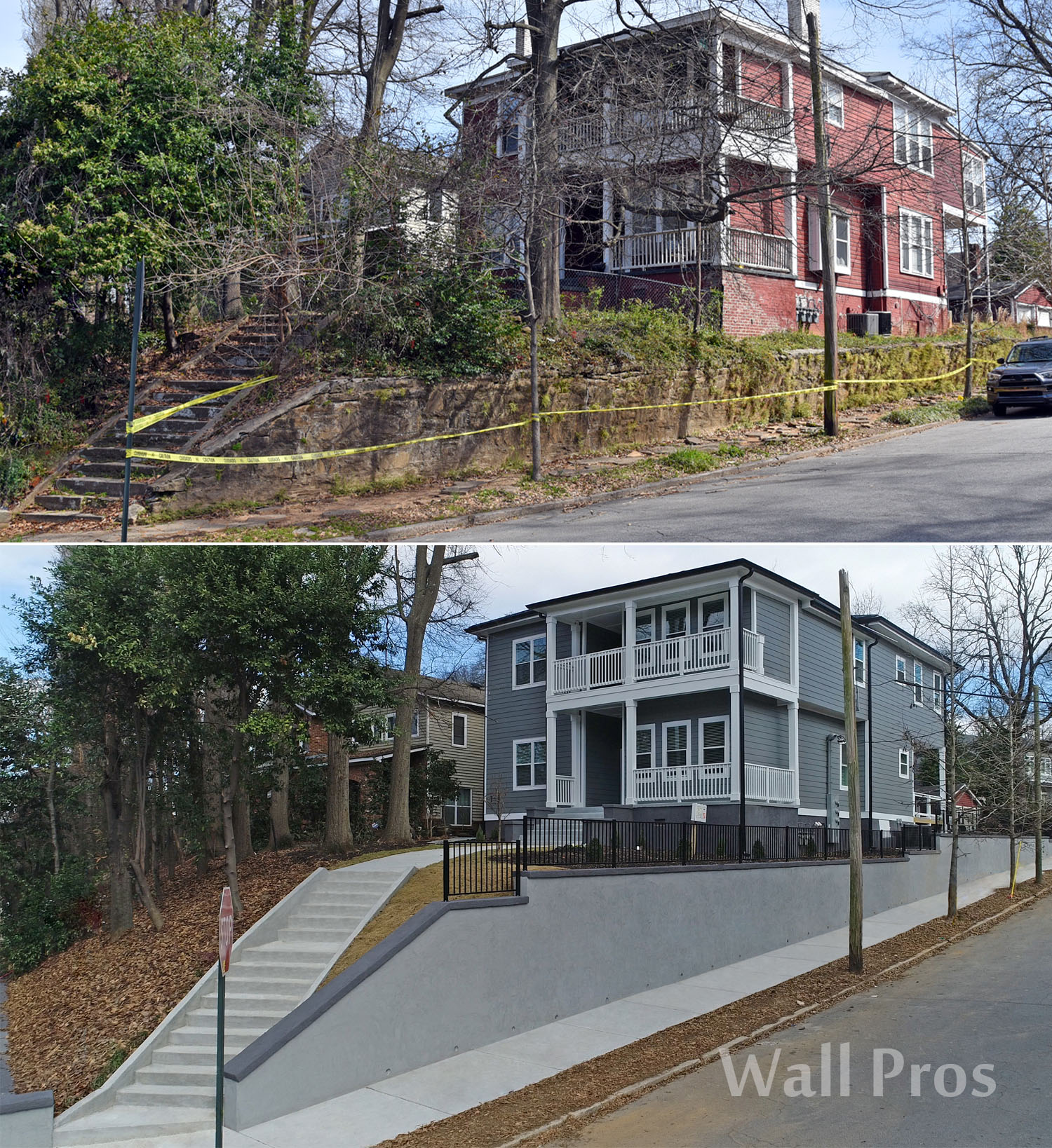 large stucco retaining wall replacement atlanta