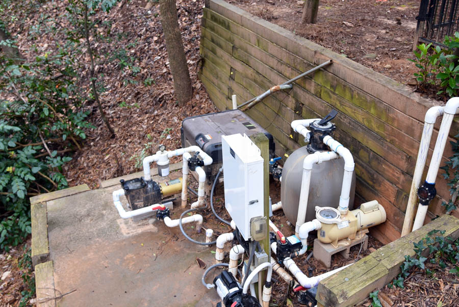 pool equipment relocation during retaining wall replacement