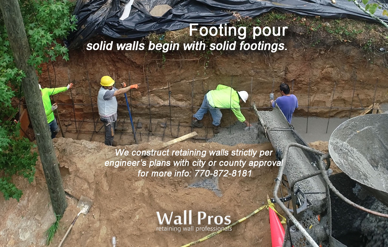 pouring a footing for a retaining wall