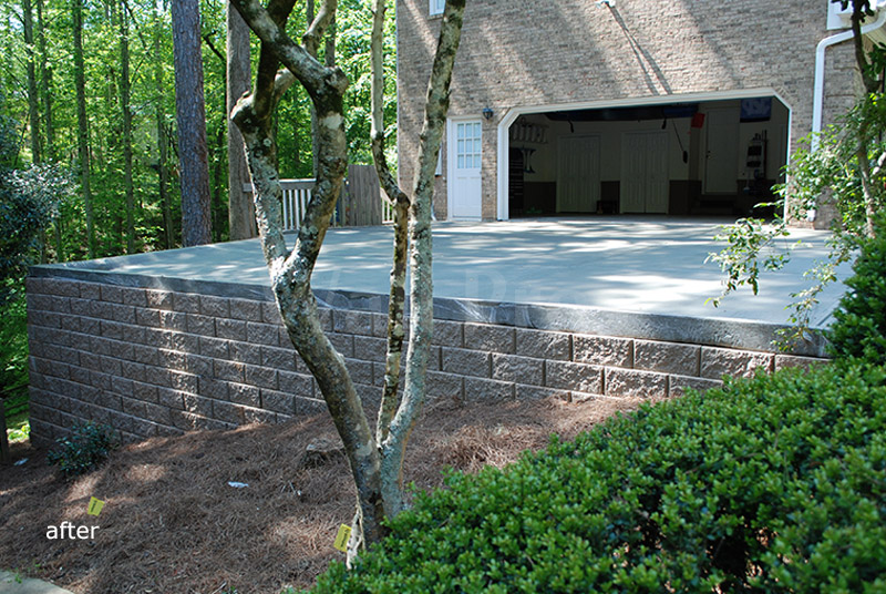 replacement retaining wall driveway after