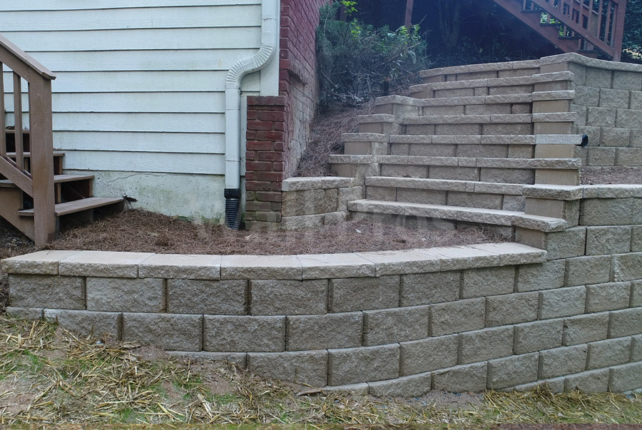 retaining wall steps after