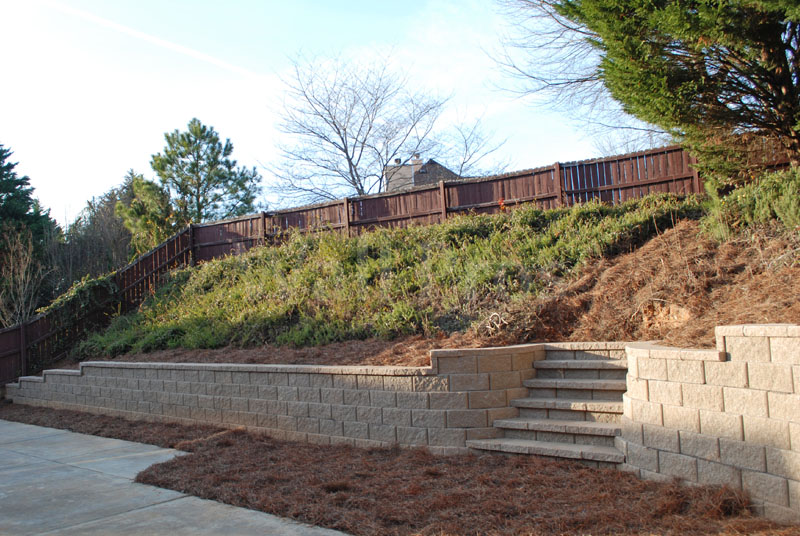 sandstone retaining wall with stairs