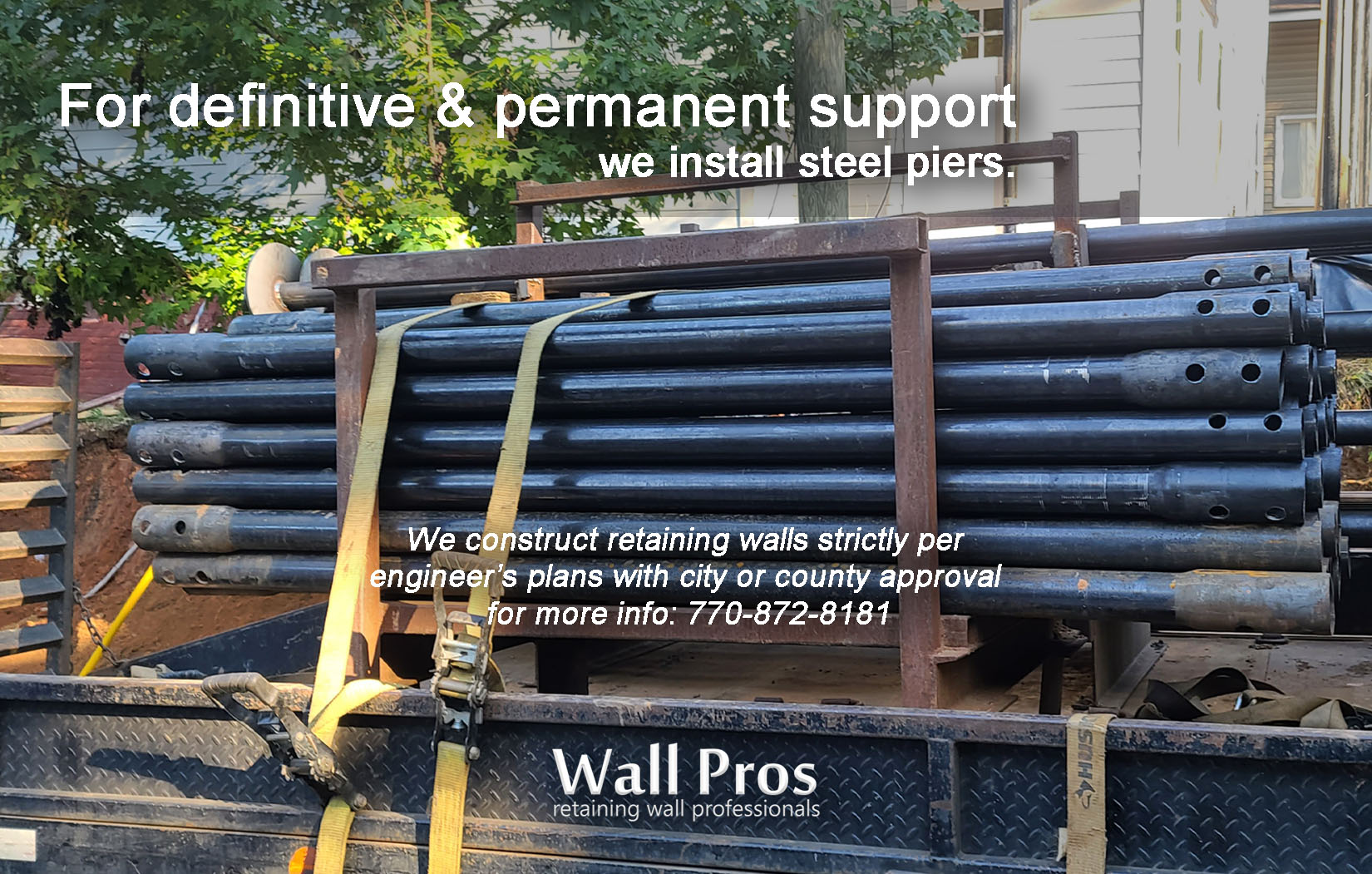 steel piers for retaining wall footing